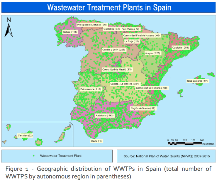 Figure 1 - Geographic distribution of WWTPs in Spain (total number of WWTPS by autonomous region in parentheses)