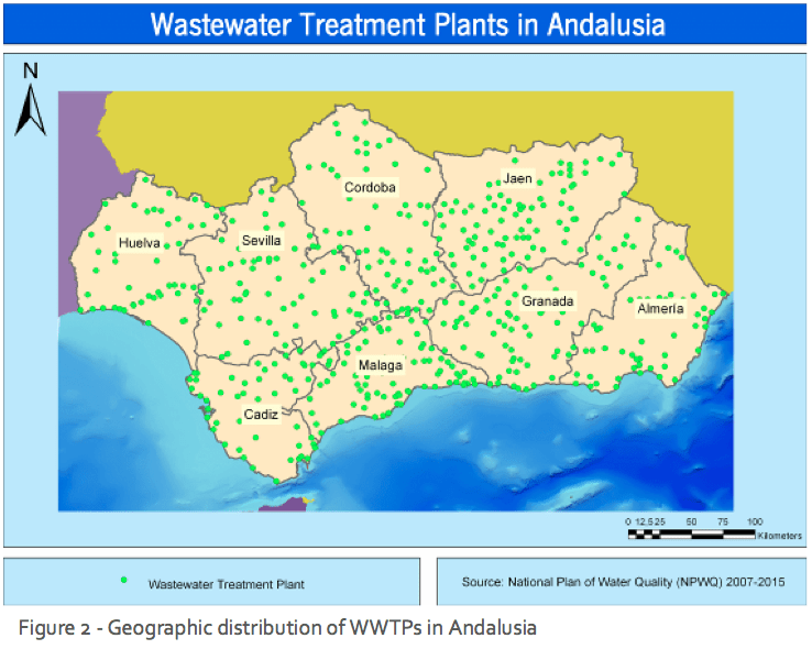 Figure 2 - Geographic distribution of WWTPs in Andalusia