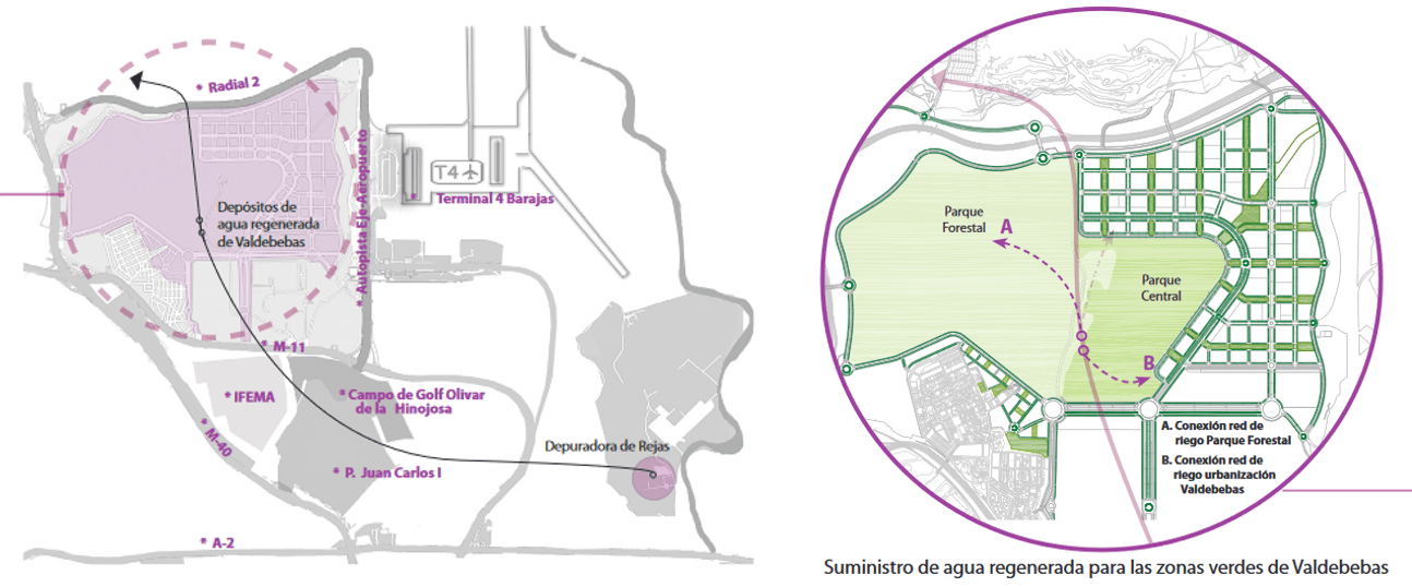 Reclaimed water supply system for the green areas of Valdebebas (Madrid)