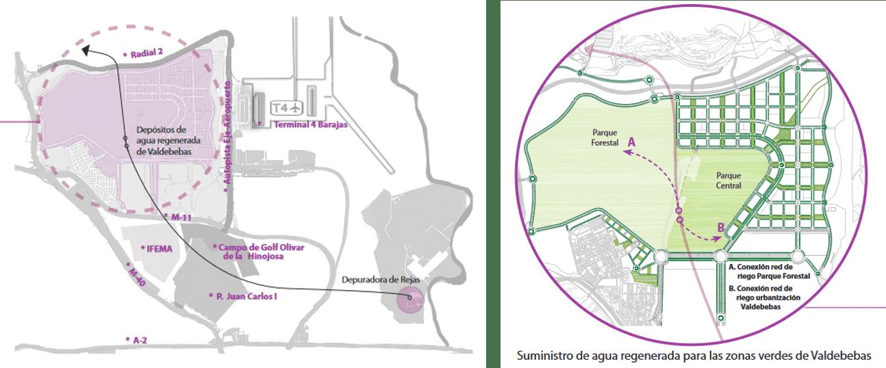 Sistema de suministro de agua regenerada para las zonas verdes de Valdebebas (Madrid)