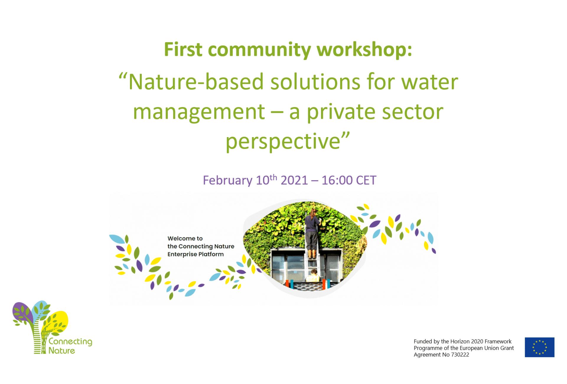 1st Workshop on water management